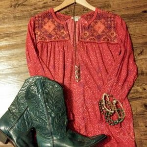 Lucky Brand embroided peasant top